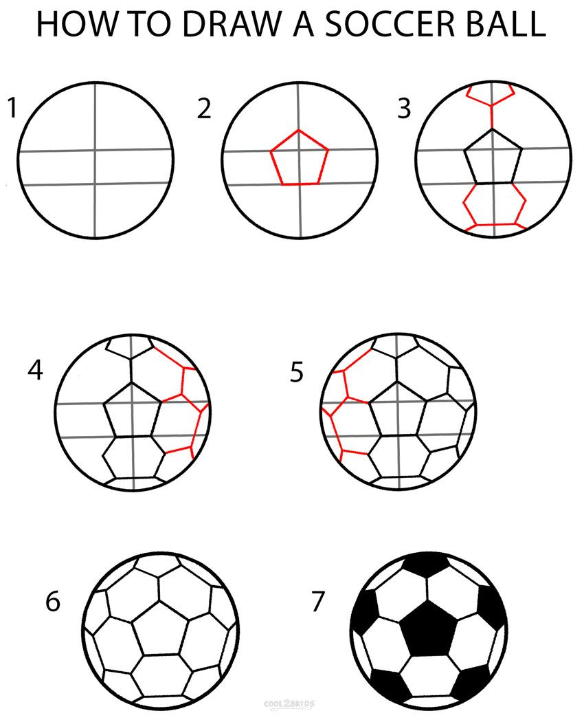 Football Drawing Easy : football, drawing, Soccer, Drawing, Tutorial, Pictures, Cool2bKids, (Cool, Bedrooms, Basketball), Drawing,, Ball,