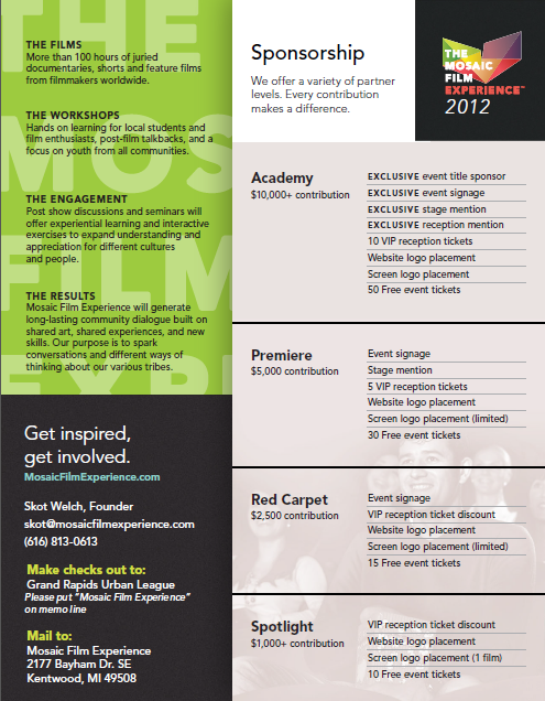 Mosaic Film Experience Sponsorship Levels Sponsorship Package - Sponsorship brochure template