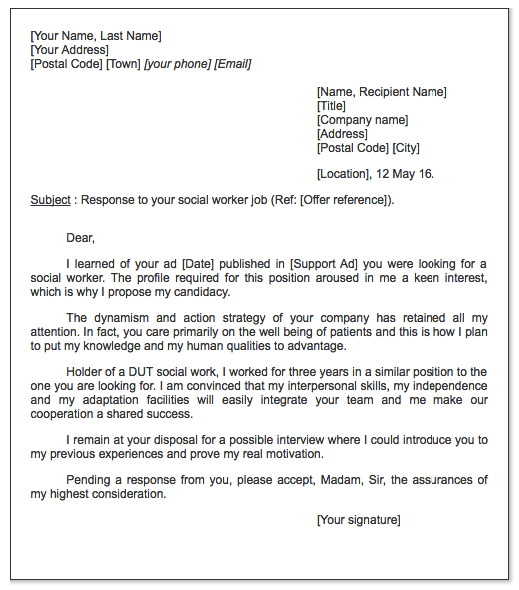 Social Worker Cover Letter Sample  Cv