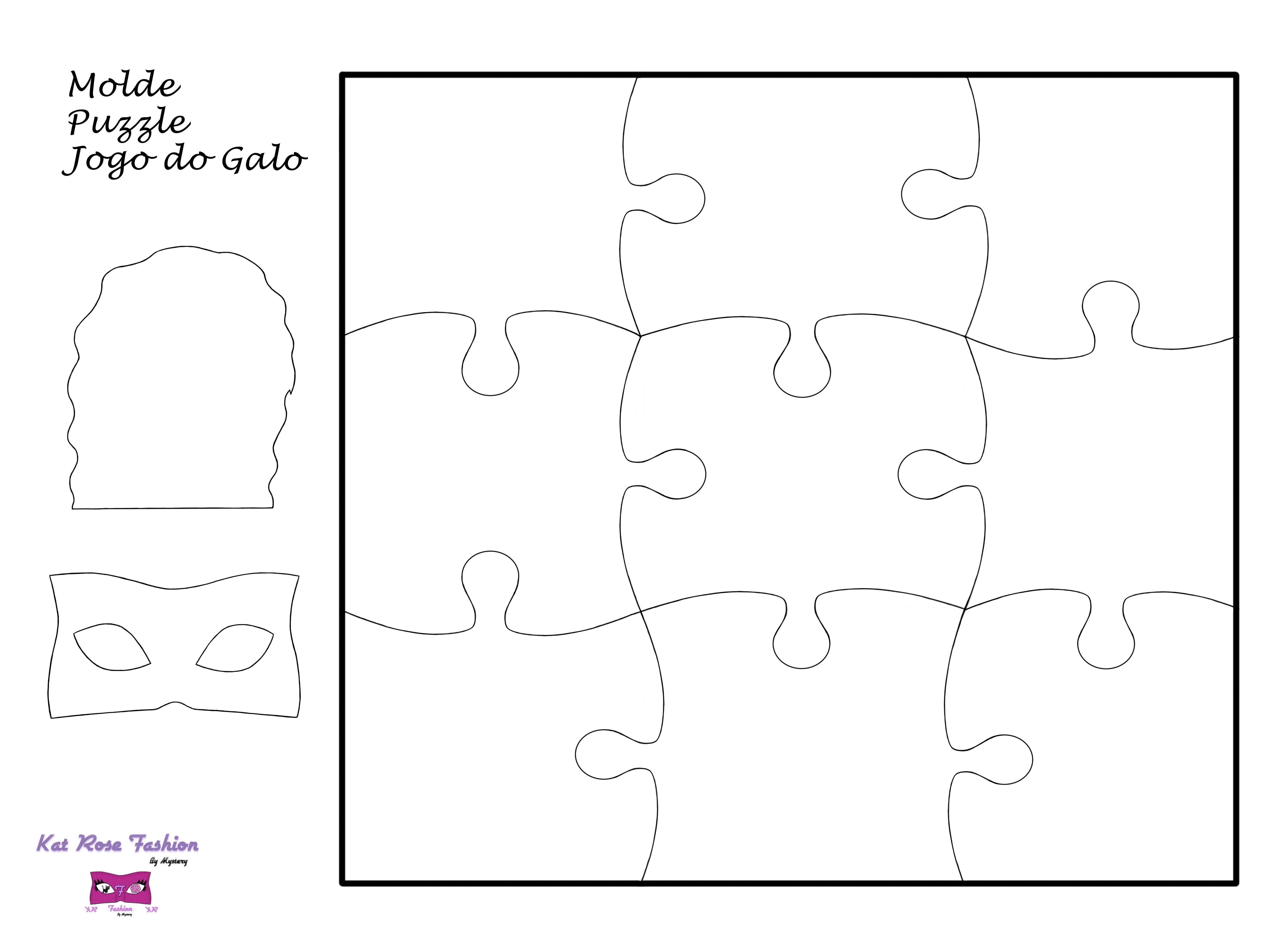 Kat Rose Fashion Workshops Molde Puzzle Jogo Do Galo Jogo Do Galo Puzzle Rosado