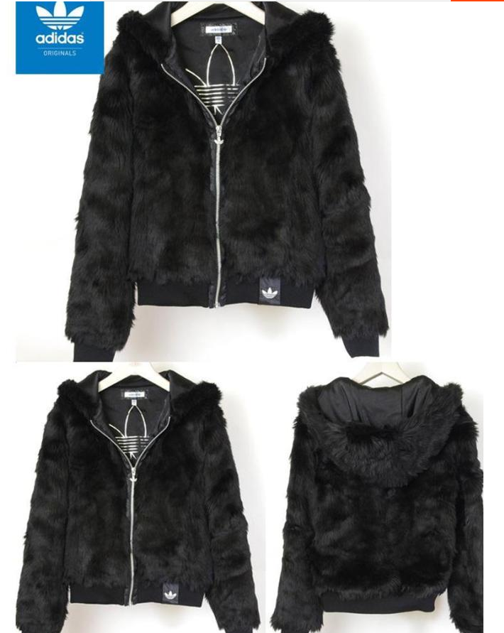 half off 1e14f 64e97 ADIDAS ORIGINALS BLACK FAUX FUR HOODIE JACKET O57918  160. Find this Pin and  more on Adidas Jeremy Scott ...