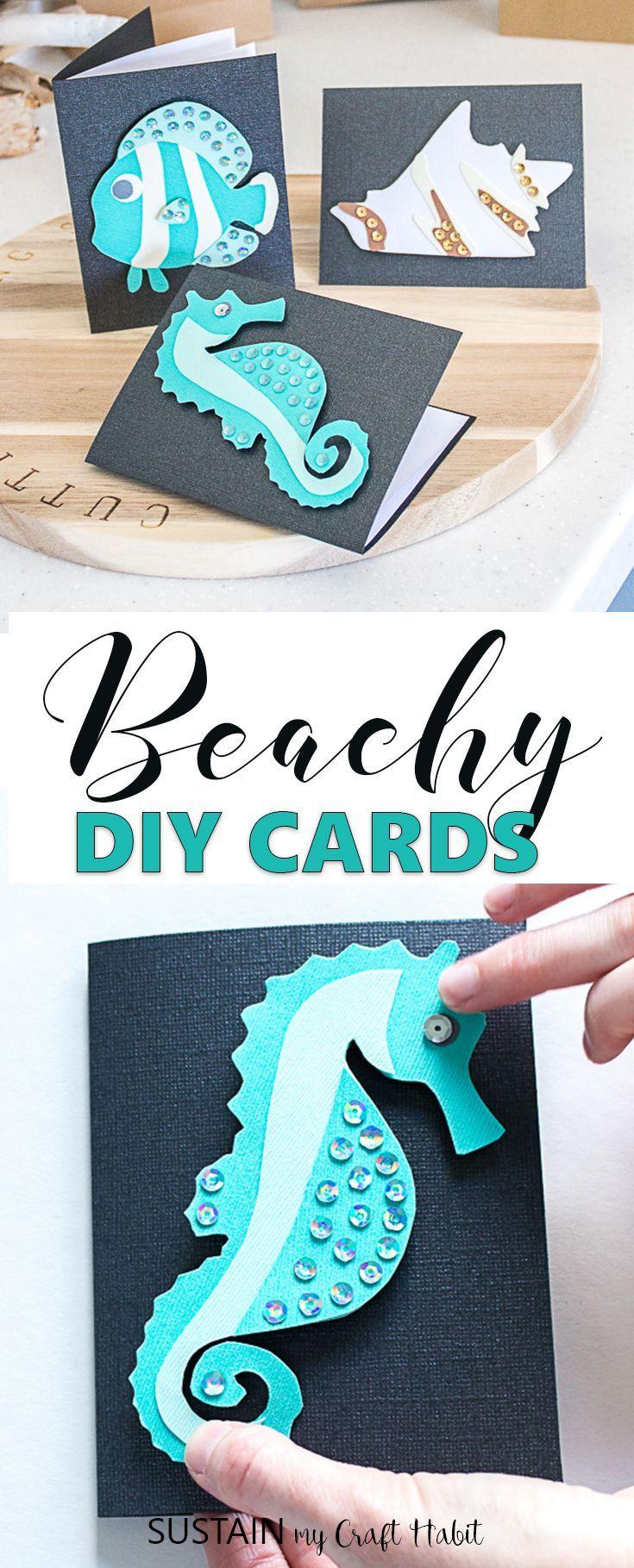 Diy beach themed greeting cards crafts pinterest diy cards