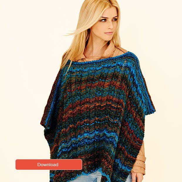 FREE Rico ladies Poncho pattern   Knit it   Poncho knitting
