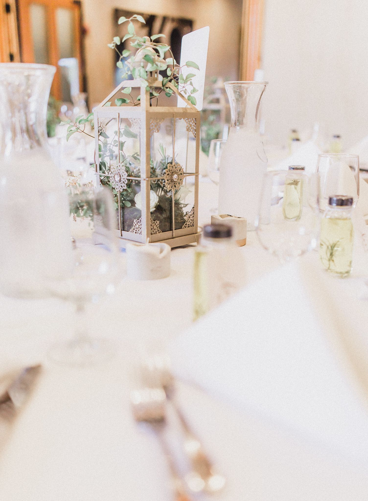 Fresh spring modern wedding industrial lanterns greenery table ...