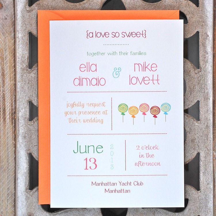 Candy Wedding Invitations . Candy Theme by SweetBellaStationery ...