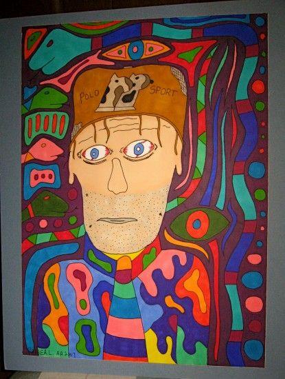 Ein Selbstportrait? Mit «Alcoholic Outsider Recovery Insane Art» bezeichnet der 1958 geborene, gemäss seiner Aussage, ursprünglich alkoholkranke Parker Lanier, seine Arbeit.