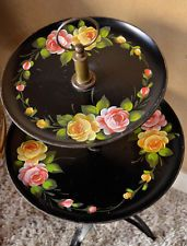 Vintage Two-Tiered Table Tole Ware Black Hand Painted Floral Chic Shabby Cottage