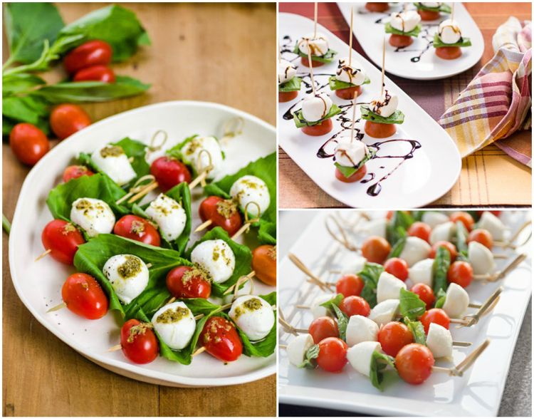 Tomate Mozzarella Spiesse Fingerfood Party Tomate Mozzarella Spiesse Tomate Mozzarella Tomaten Mozzarella Salat