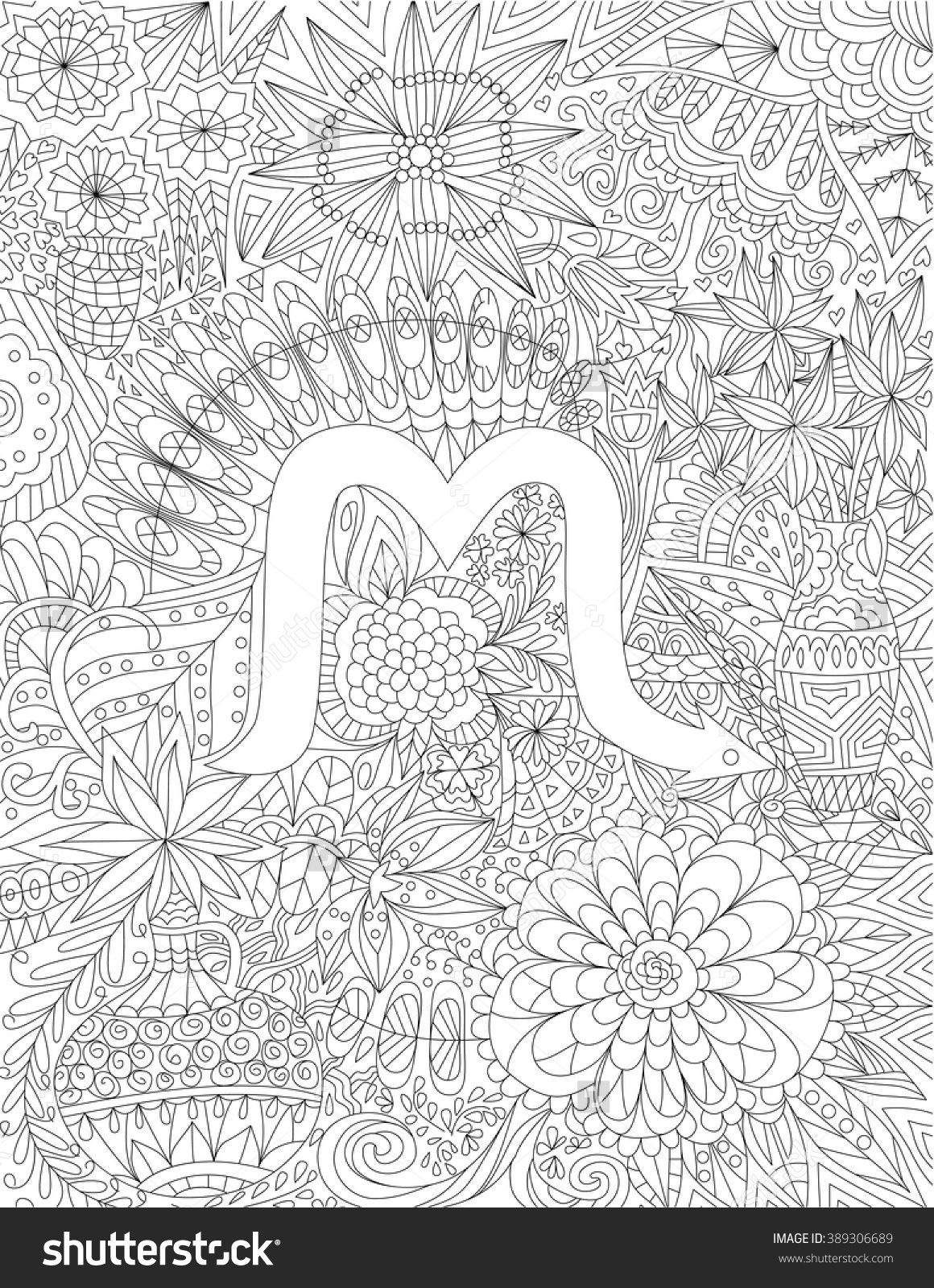 Zodiac sign scorpio ethnic floral geometric doodle pattern coloring