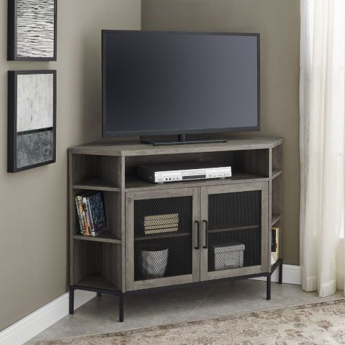 Walker Edison Furniture Co Gray Wash 16 Inch Corner Tv Console