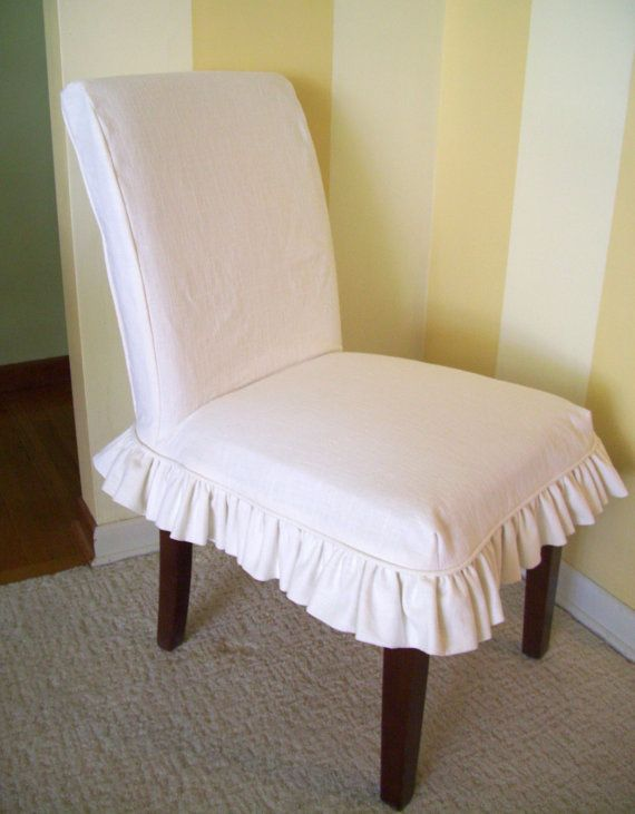 Amazing Linen Parsons Chair Slipcover Ruffled Skirt Dining Chair Ncnpc Chair Design For Home Ncnpcorg
