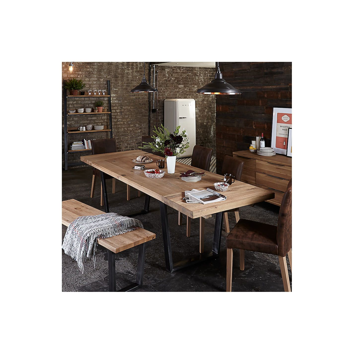 John Lewis Calia Style Industrial Dining Table Kitchen Table With Reverse Trapezium Steel Leg Industrial Dining Table Dining Table In Kitchen Industrial Dining