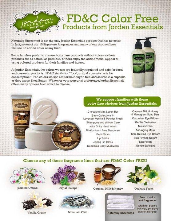Jordan Essentials Products are FD& C Color Free!  www.myjestore.com/thepamperdiva