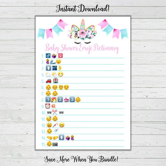 Unicorn Baby Shower Game Set Baby Shower 8 Game Bundle Answer
