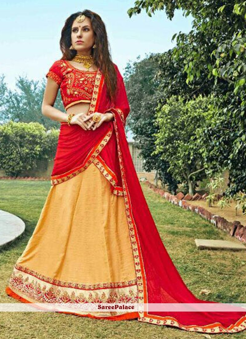 Opulent bhagalpuri silk zari work lehenga choli a line lehenga