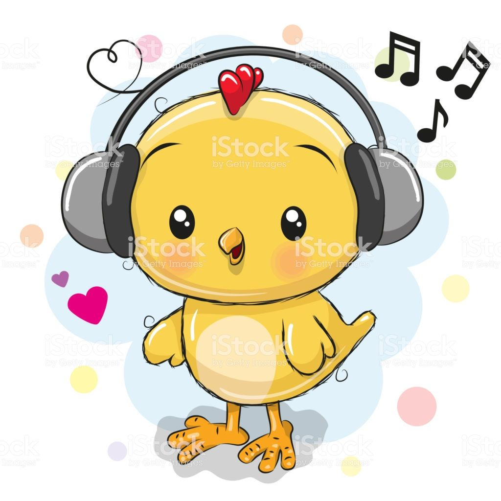 Cute Cartoon Chicken With Headphones On A White Background Cartoon Chicken Cute Cartoon Cute Chickens