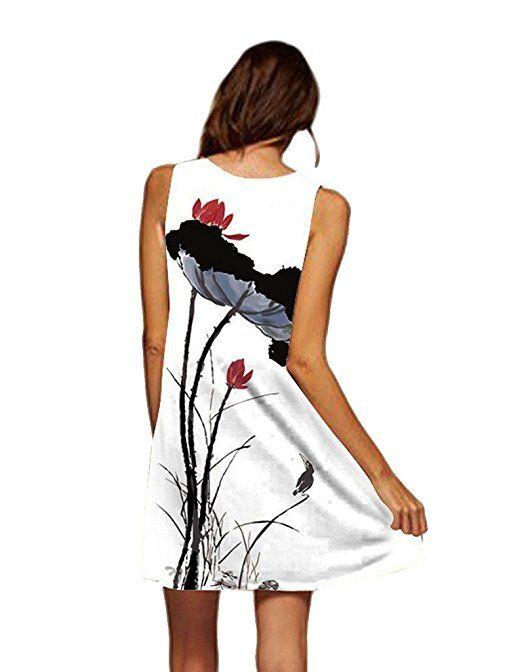 365-Shopping Damen Frauen Sommer Ärmellos Chiffon Kleider ...