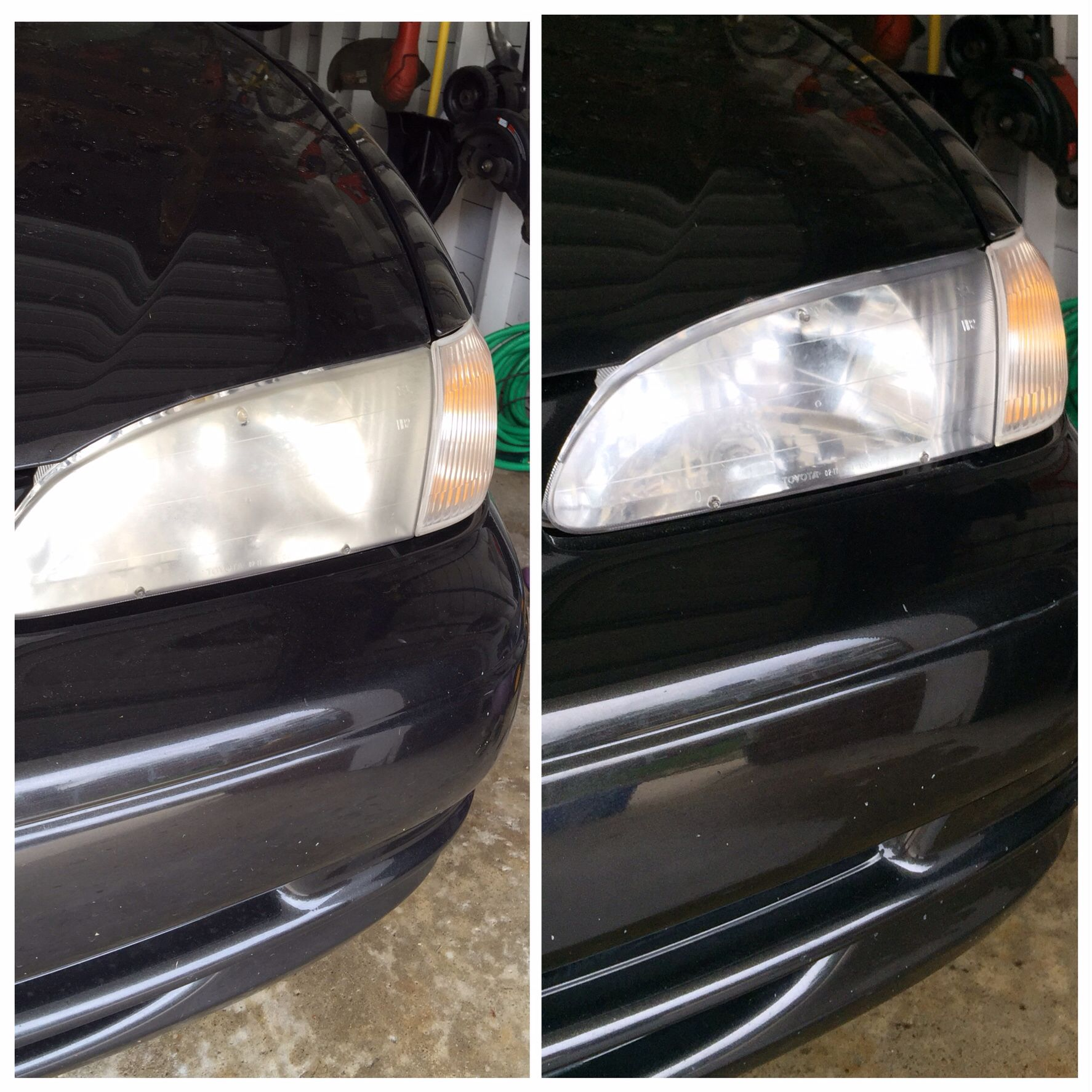 I couldn't bring myself to purchase a headlight restoration kit for $30+ for my '99 Corolla. Instead, here's what I did: 1. Wash headlights; 2. Use painters tape and tape around headlights to protect paint; 3. Use 2000 grit wet/dry sandpaper and scour headlights; 4. Rinse and dry headlights; 5. Apply car wax on headlights and let dry; and 6. Use a cotton rag to buff car wax. I repeated car wax application twice. What a huge difference and less than $10.