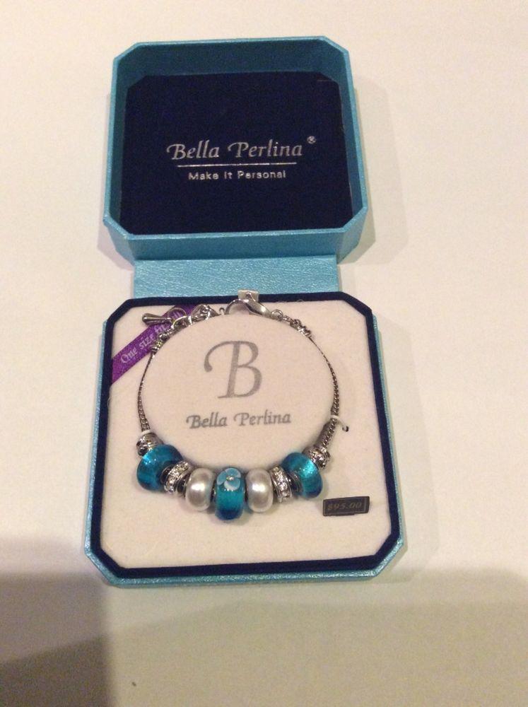 Bella Perlina European Crystal Charm Bracelet Teal/Turquoise/Blue & White Pearl #BellaPerlina #LobsterClasp