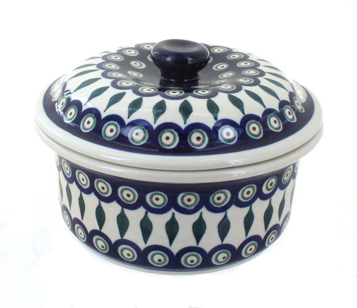 Peacock Round Baker With Lid Polish Pottery Pottery