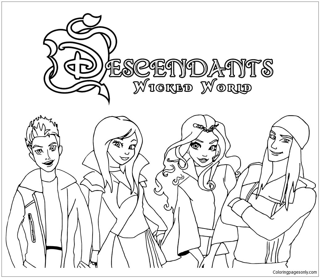 Descendants Wicked World Coloring Page http://coloringpagesonly.com ...