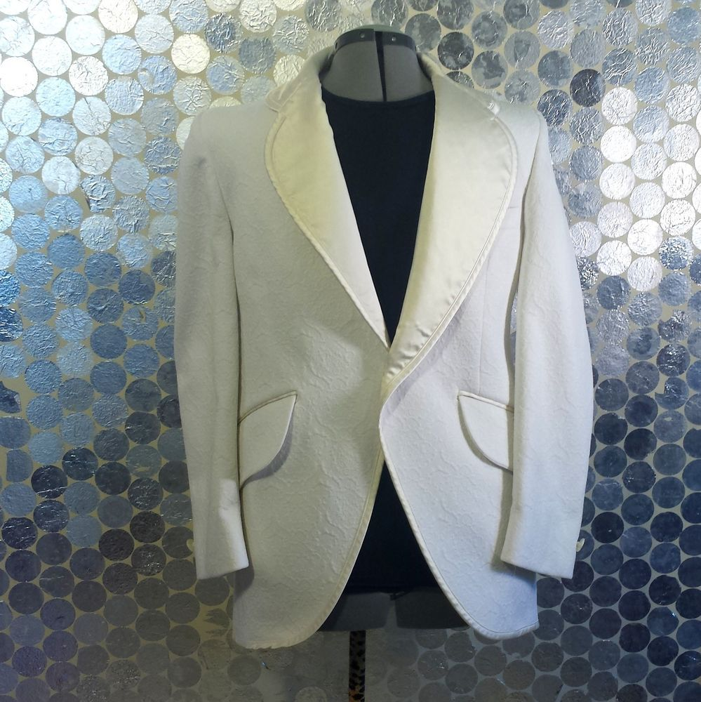White Vintage Tuxedo Double Knit Tuxedo Jacket with Cream Satin Trim