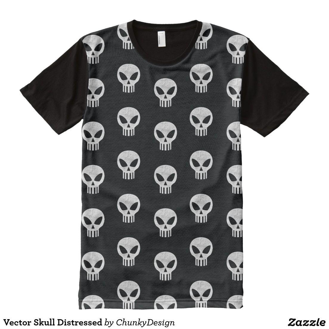 Vector Skull Distressed AllOver Print Tshirt. Cool Gift
