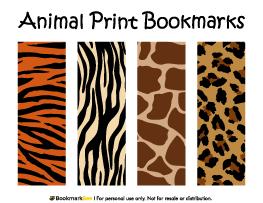 Animal Print Bookmarks Animals Bookmarks Free Printable
