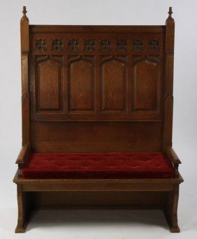 104: ANTIQUE AMERICAN GOTHIC OAK HIGH BACK BENCH : Lot 104