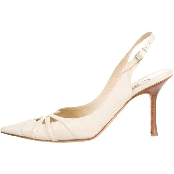 Pre-owned Jimmy Choo Pumps ($145) ❤ liked on Polyvore featuring shoes, pumps, neutrals, ankle wrap pumps, jimmy choo shoes, nude shoes, nude leather shoes and ankle strap shoes