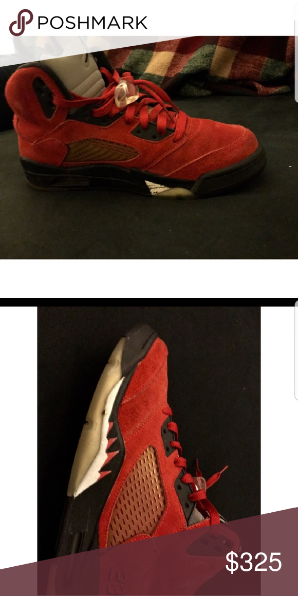9b16a0b735b5 Air Jordan 5 Retro( Raging Bull Red Suede) Used- Minor fade mark on ...