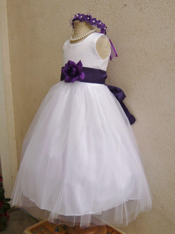 White Flower Girl Dress More Than 20 Sash And By Kidsdreamsusa