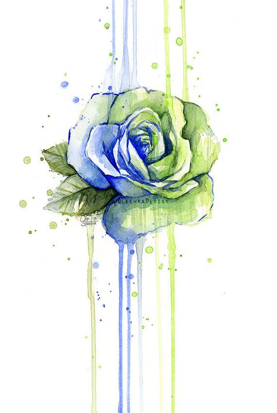 Seattle Seahawks Rose Watercolor 12th Man Art Giclee Print Green Blue Flower Rose Wall Art Rose Painting Floral Watercolor Paintings