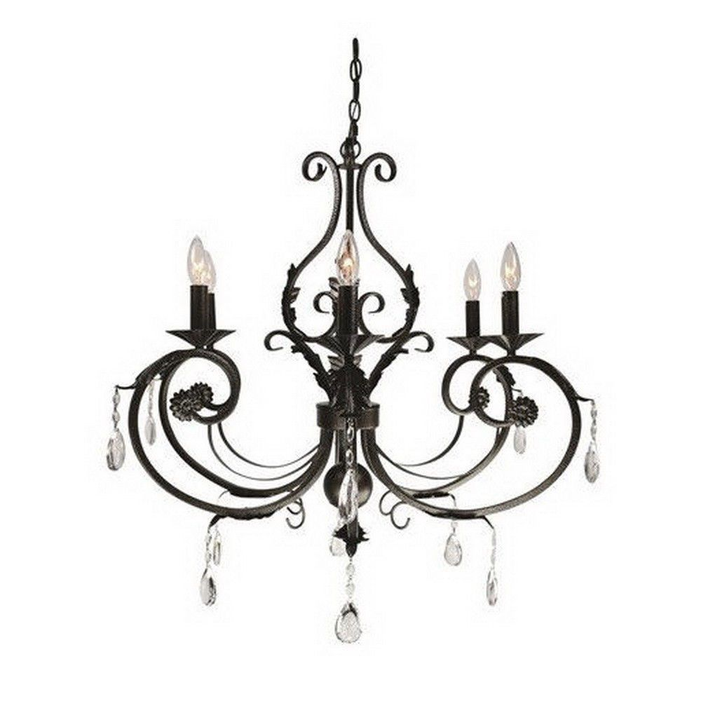 Black Bronze With Crystal Accents 6 Light Chandelier in