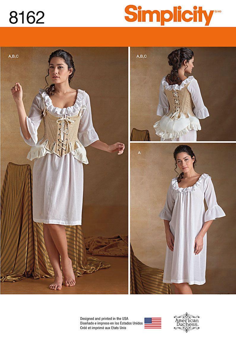 310fec75a1 Simplicity 8162 18th Century Undergarment Corset Chemise Costume Pattern Sz  6 22