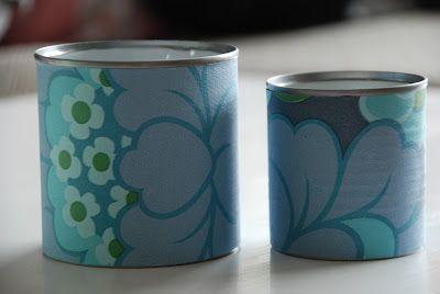 wallpaper covered cans via Jeg pusler i hverdagen