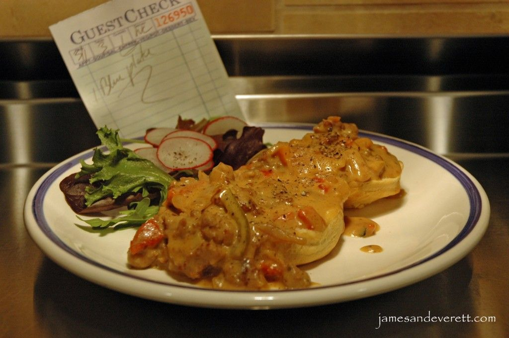 Great sausage gravy recipe with roasted peppers and onion.