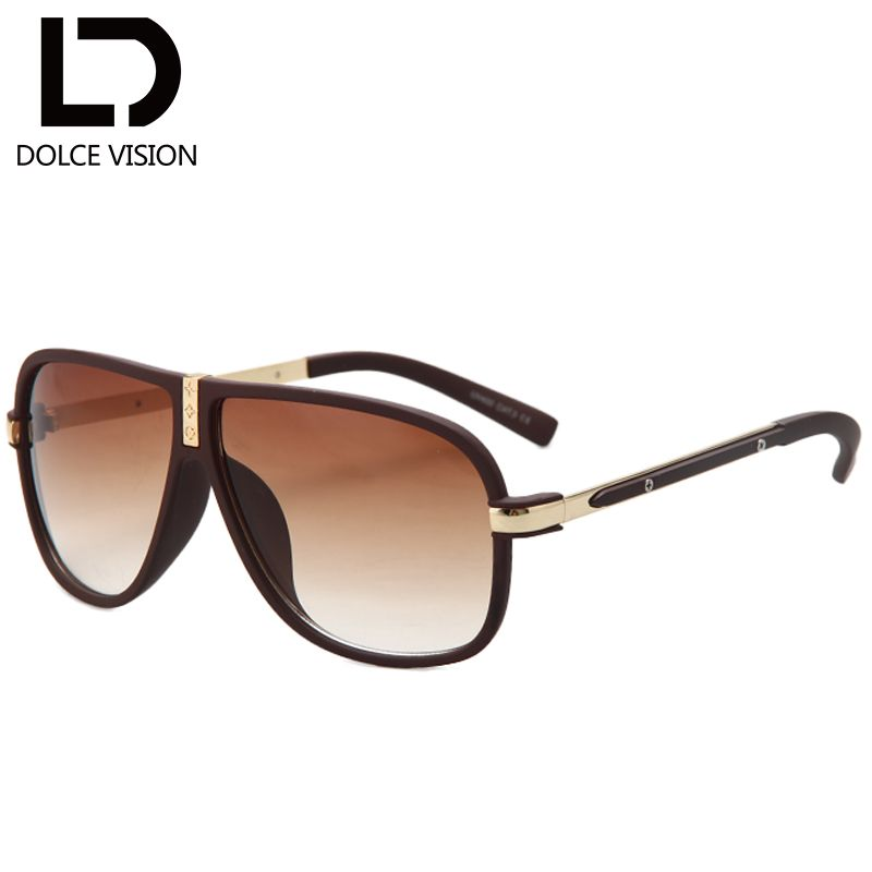 ca7bf4ace0 DOLCE VISION Luxury Pilot Sunglasses Men Cool High Quality Brand Shades Male  Designer Black Sun Glasses