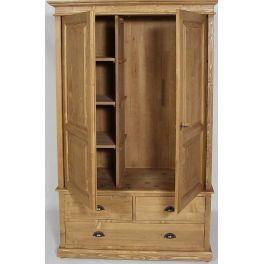 Armoire 2 portes 3 tiroirs l 120 cm en pin massif pays de - Armoire en pin 3 portes ...