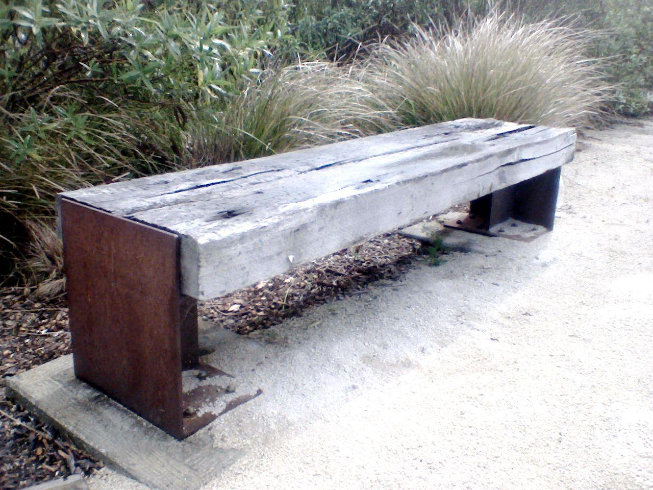 rustic railway sleeper bench garden pinterest. Black Bedroom Furniture Sets. Home Design Ideas