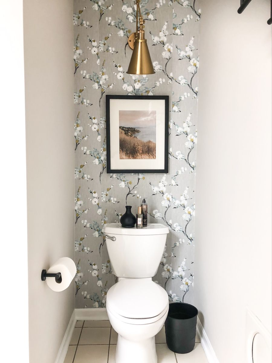 Bathroom Refresh With Wallpaper In 2021 Bathroom Accent Wall Behind Toilet Decor Powder Room Accent Wall