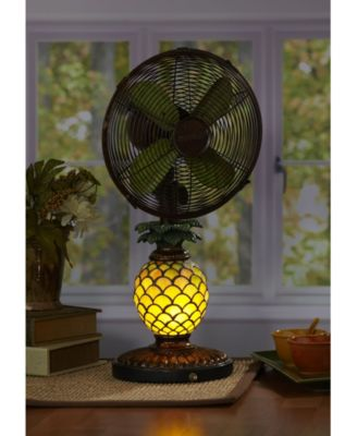 Decobreeze Table Fan With Lamp Mosaic Glass Pineapple Green Mosaic Glass Table Fan Fan Lamp