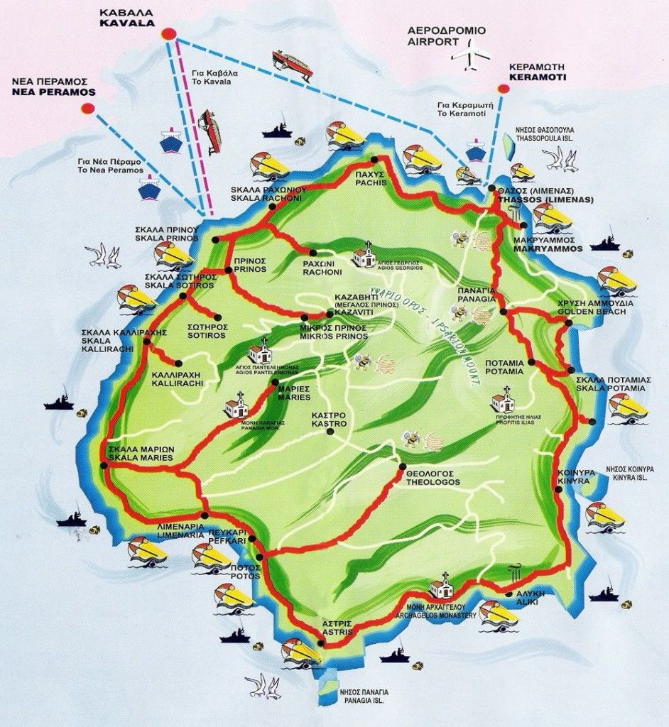 Thassos Island Map Greece Favorite Places Spaces