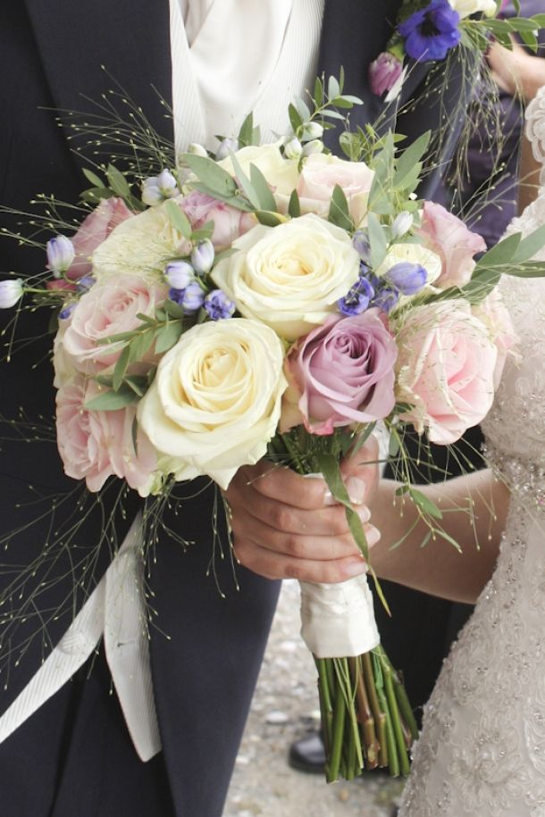 Blue and purple and white wedding bouquet
