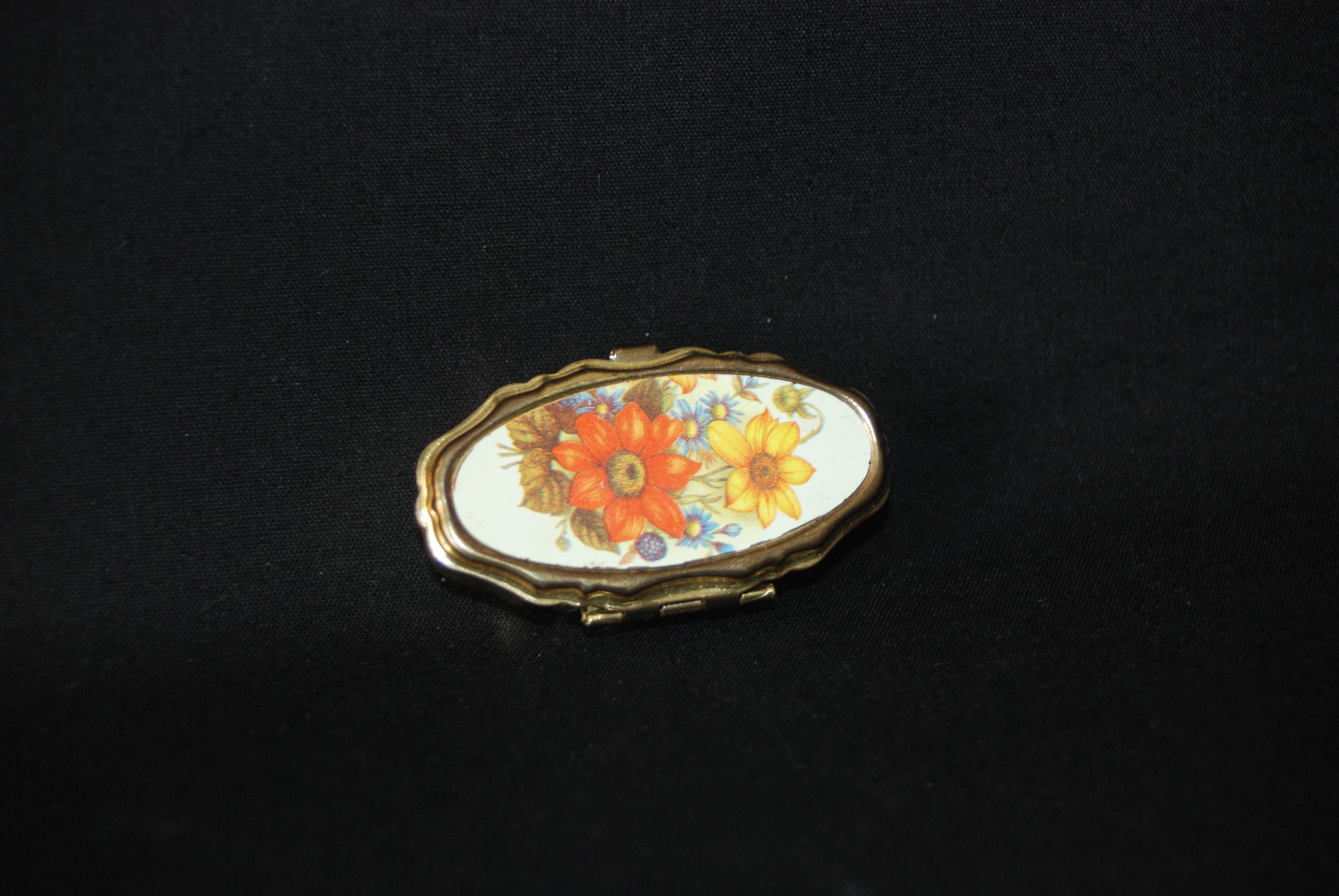 Flowers pill box vintage collectible floral gold colored metal