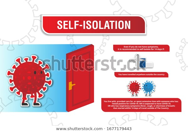 Self Isolation Illustration Concept Tips Trick Stock