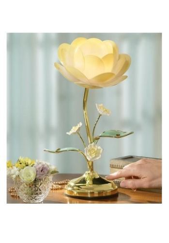 Yellow Rose Floral Lotus Flower Blossom Glass Leaf Brass Table Desk Touch Lamp Touch Lamp Flower Lamp Lotus Lamp