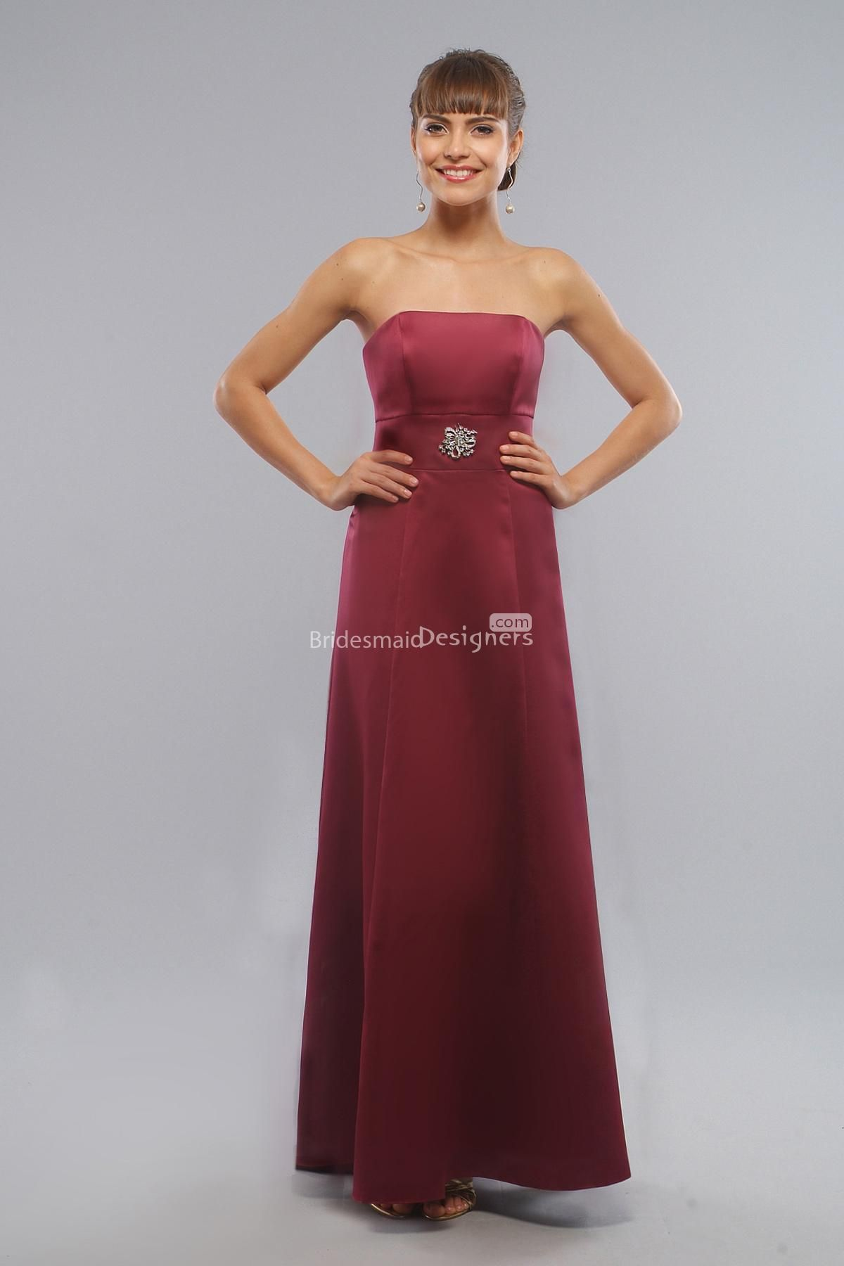 Glamorous red sleeveless aline long empire satin bridesmaid