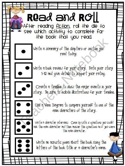 Read And Roll Reading Response Activities For Fiction And Non