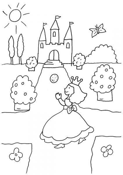 coloriage à imprimer  la princesse et son château